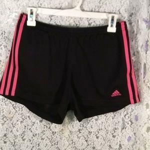 Black & Hot Pink Adidas Workout Shorts